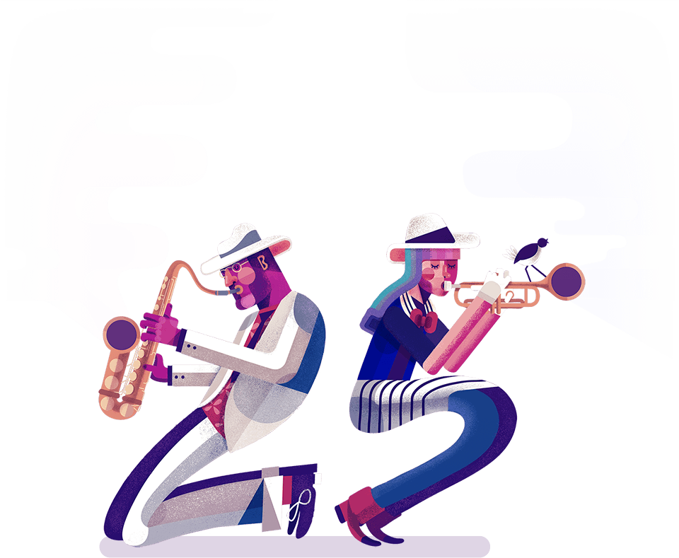 Illusration of two jazz music musicians performing